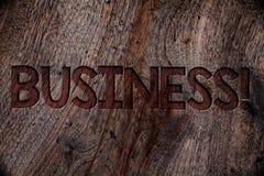 Skriva appell för anmärkningsvisningaffär Affärsfoto som ställer ut entreprenören Company Wood för ockupation för handelarbetsspe royaltyfri foto