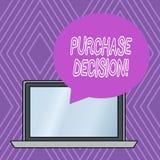 Skriva beslut för anmärkningsvisningköp Affärsfoto som ställer ut processen som leder en konsument från att identifiera ett behov stock illustrationer
