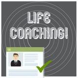 Skriva coachning f?r anm?rkningsvisningliv Affärsfotoet som ställer ut en demonstrering som används för att hjälpa visning, når f stock illustrationer