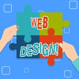 Skriva design för anmärkningsvisningrengöringsduk Affärsfoto som ställer ut process av att skapa produktion och diagrammet för we royaltyfri illustrationer