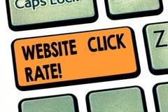 Skriva hastighet för klick för anmärkningsvisningWebsite Affärsfoto som ställer ut förhållandeanvändare som klickar specifik samm royaltyfri bild