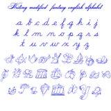 Skriva modifyed fantasi illustrationen för engelskt alfabet Vektor Illustrationer