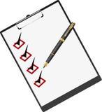 Skriva och mappen för legitimationshandlingar. Arkivbild