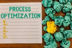 Skriva Optimization för anmärkningsvisningprocess Att ställa ut för affärsfoto förbättrar organisationer som effektivitet maximer royaltyfria foton