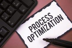 Skriva Optimization för anmärkningsvisningprocess Att ställa ut för affärsfoto förbättrar organisationer som effektivitet maximer royaltyfri bild