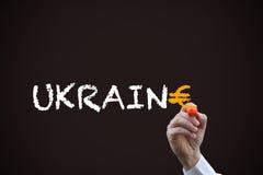 Skriva ordet Ukraina Royaltyfri Bild