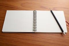 Skriva på anteckningsboken med blyertspennan Royaltyfri Foto
