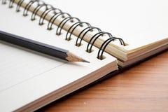 Skriva på anteckningsboken med blyertspennan Arkivbild