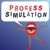 Skriva simulering för anmärkningsvisningprocess Affärsfotoet som ställer ut den tekniska framställningen, fabricerade studien av  royaltyfri illustrationer