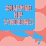 Skriva syndrom för höft för anmärkningsvisning låsande fast Affärsfoto som ställer ut det hörbara knäppet eller klicken som uppst vektor illustrationer