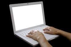 skrivande för 02 bärbar dator Royaltyfria Foton