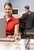skrivande för affärskvinnadatorskrivbord arkivbild