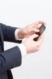 skrivande för celltelefon royaltyfri foto