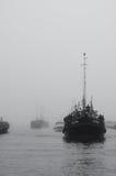 Skrivande in hamn för fiskebåt Royaltyfria Bilder