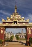 Skrivande in Kakku tempel, Myanmar (Burman) Royaltyfri Bild