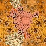 Skrivar den sömlösa modellen ut för den guld- vektorn med blommiga mandalas gjort i orientalisk stil Design för omslaget, garneri vektor illustrationer