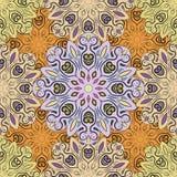 Skrivar den sömlösa modellen ut för den pastellfärgade vektorn med blommiga mandalas gjort i orientalisk stil Design för omslaget royaltyfri illustrationer