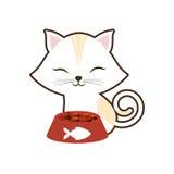 skrivar den vita för ögonplattan för katten band stängda fisken ut för mat Royaltyfri Foto