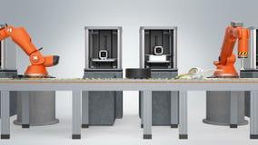 skrivare 3D och robotic armar i transportband royaltyfri illustrationer