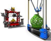 skrivare 3D stänger sig upp begreppsbegrepp Fotografering för Bildbyråer