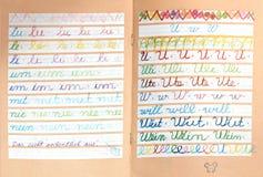Skrivbok av en första väghyvel Arkivbild
