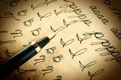 Skrivbok för gammal skola Arkivbild