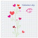 Skrivbok med en bild och `en för dag för ` s för överskrift`-valentin, Arkivfoton