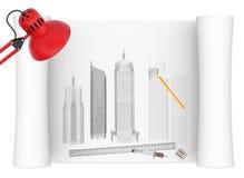 Skrivbord av arkitekten vektor illustrationer