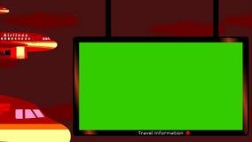 Skrivbord för information om om flygflygplan och flygplats med chromatangentskärmen i mörk himmel stock illustrationer