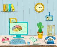 Skrivbord för inre för affärsarbetsplatskontor stock illustrationer