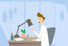 Skrivbord för kontor för arbetsplats för affärsman stock illustrationer