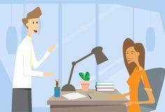 Skrivbord för kontor för arbetsplats för affärsman och kvinna vektor illustrationer