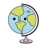 Skrivbord för planet för färgkawaii trevligt globalt stock illustrationer