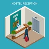 Skrivbord för räknare för mottagande hotellreceptionistModern för lyxigt hotell med klockan Lyckligt kvinnligt receptionistarbeta royaltyfri illustrationer