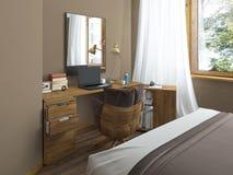 Skrivbord i ett modernt sovrum Arkivfoto