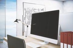 Skrivbord med datorbildskärmen stock illustrationer