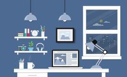 Skrivbord med datoruppsättningen royaltyfri illustrationer
