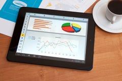 Skrivbord med den digitala tableten. Marknadsföra forskning. Fotografering för Bildbyråer