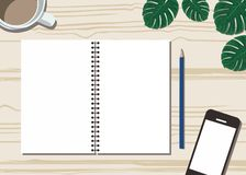 Skrivbord med en kopp kaffe, en handphone, en blomma och en pappers- plan design royaltyfri illustrationer