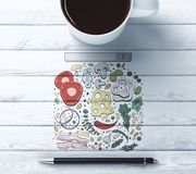 Skrivbord med matteckningen Royaltyfria Bilder