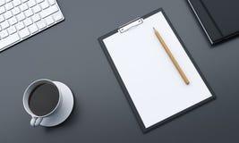 Skrivbord med tomt papper vektor illustrationer