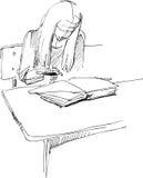 skrivbordflickaskola Royaltyfri Illustrationer