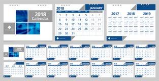 Skrivbordkalender 2018 royaltyfri illustrationer