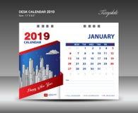 Skrivbordkalender design för 2019 år mallvektor, Januari månad royaltyfri illustrationer