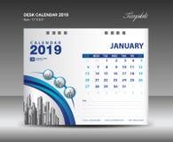 Skrivbordkalender design för 2019 år mallvektor, Januari månad stock illustrationer