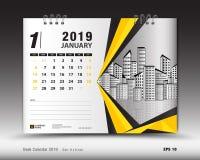 Skrivbordkalender för den Januari 2019 mallen, tryckbar kalender, stadsplaneraredesign vektor illustrationer