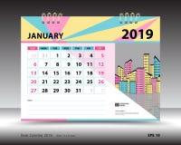 Skrivbordkalender för den Januari 2019 mallen, tryckbar kalender, stadsplaneraredesignmall stock illustrationer