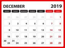 Skrivbordkalendern för den DECEMBER 2019 mallen, den tryckbara kalendern, stadsplaneraredesignmallen, vecka startar på söndag, br royaltyfri illustrationer