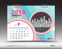 Skrivbordkalendern för den Januari 2019 mallen, den tryckbara kalendern, stadsplaneraredesignmallen, vecka startar på söndag Vektor Illustrationer