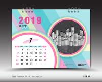 Skrivbordkalendern för den JULI 2019 mallen, den tryckbara kalendern, stadsplaneraredesignmallen, vecka startar på söndag Stock Illustrationer